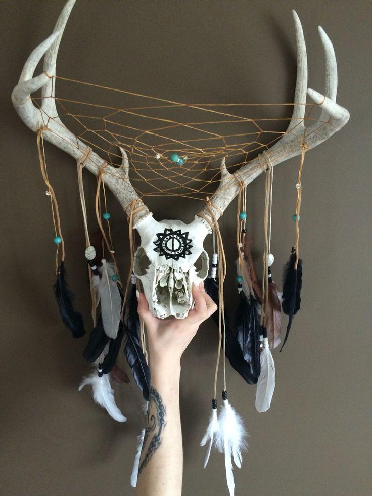 Deer skull and antler Dreamcatcher Turquoise