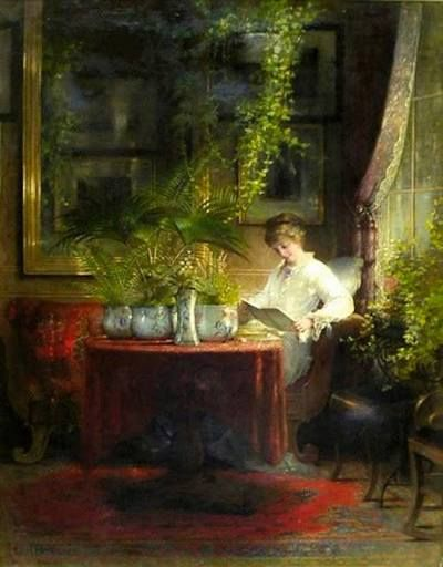 1873...Young Girl Reading...Hein Burgers....love the room...