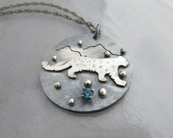 Sterling Silver Snow Leopard Necklace, by TrailAndTide on ETSY