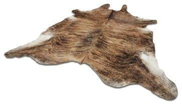 Yerra Full Cow Hide Rug Natural, Chesnut, Approx 6'x9' - rustic - Novelty Rugs - Neiman NY