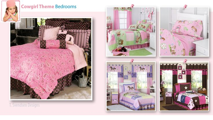 Cowgirl Theme Bedrooms: Inspirational tips & pictures from interior designer Tracy Svendsen on how to create a cowgirl bedroom. Little cowgirls to teens.