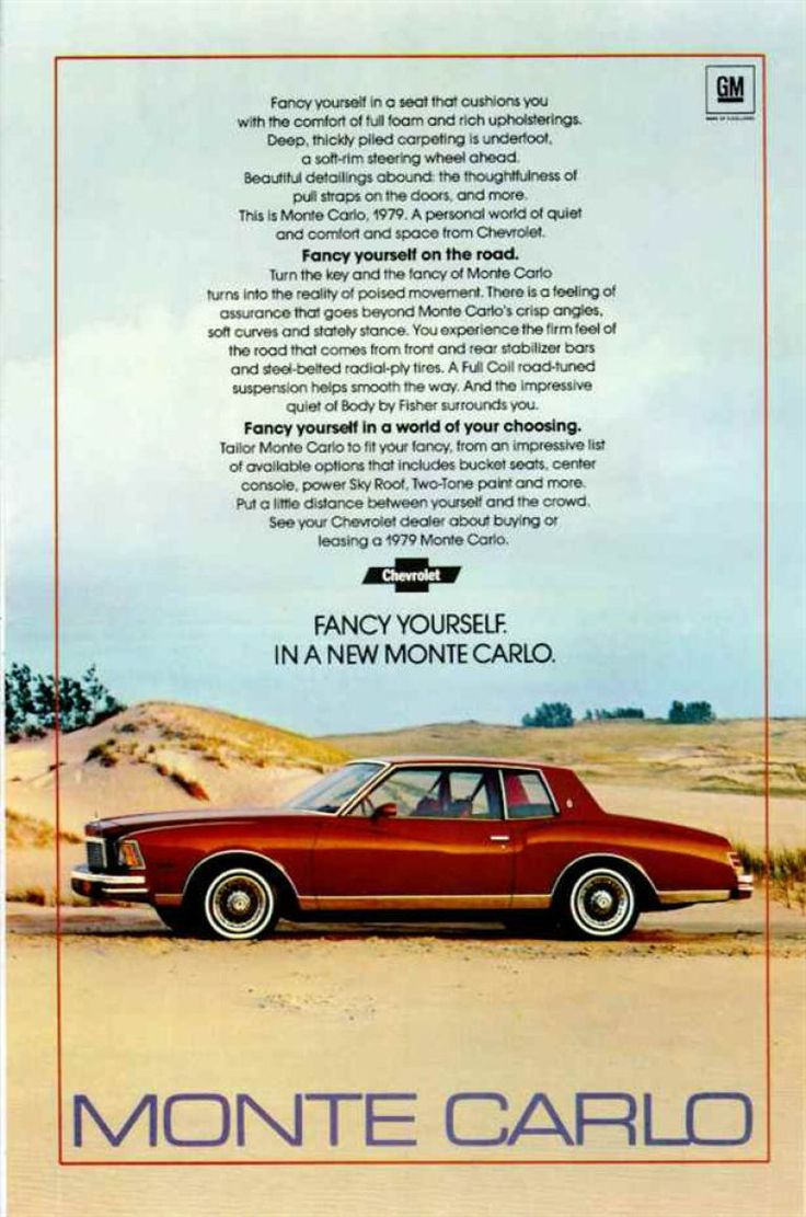 Home by year 1979 cars 1979 trucks car pictures - 1979 Chevrolet Monte Carlo Car Ad Chevy Automobile By Advintagecom