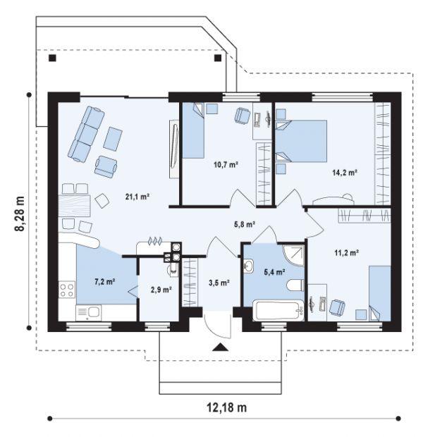 Планировка первого этажа  «Z7. Маленький и недорогой одноэтажный дом с двускатной крышей»