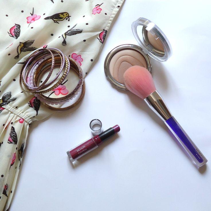 summer chic explosion - inspiring - boho dress - designers - fashion - make up brush - lipstick - bracelet - blush - birds - flowers