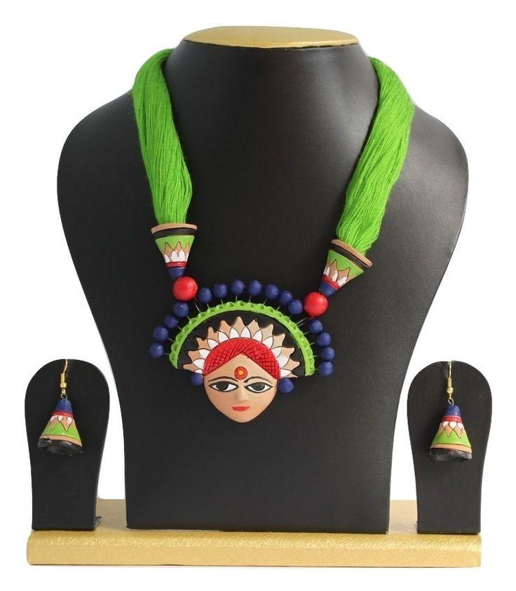 Handmade Terracotta Jewellery, Necklace Earring Set, Green – SharePyar