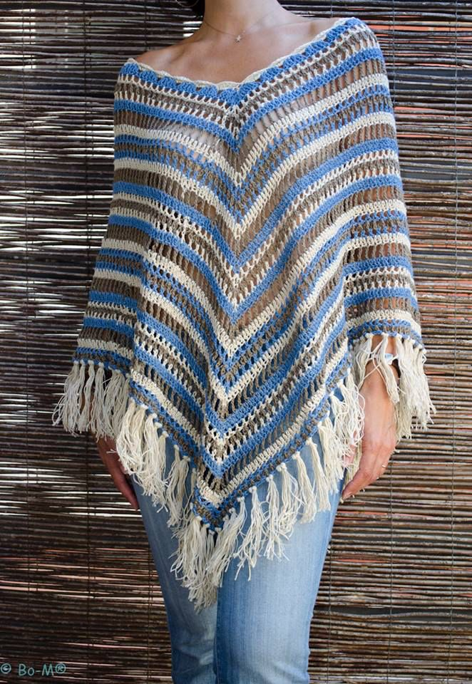 Fringed striped poncho - crochet, maybe tunisian crochet would also work