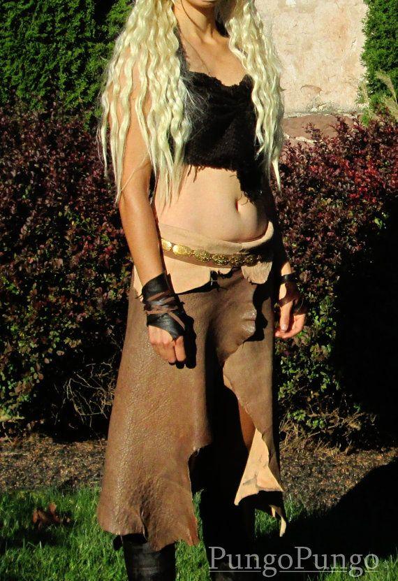 Khaleesi Costume Skirt ONLY - Dothraki Leather Hide Split Skirt - Daenerys Targaryen Cosplay Game of Thrones Dress Leather Skirt Custom