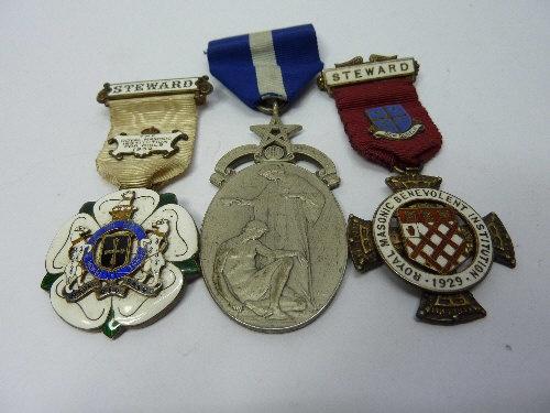 Three silver Masonic medals  Estimate: £50 - £75