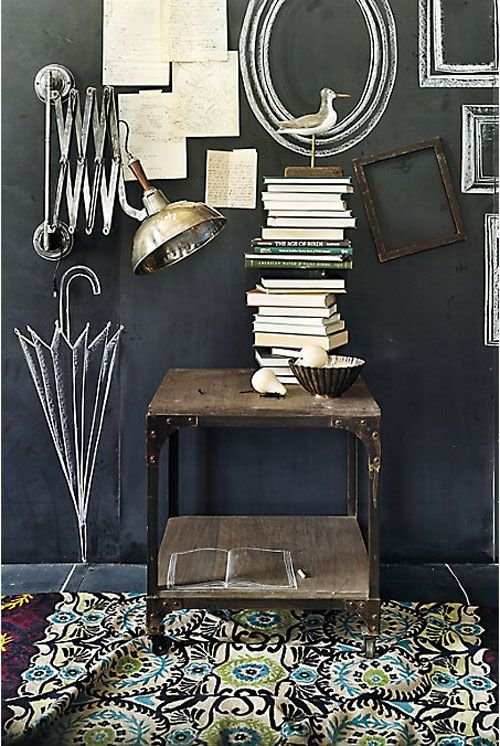 chalkboard wall with picture frames