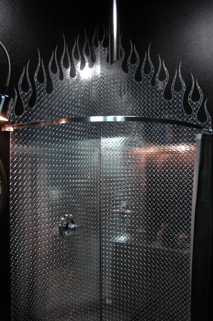 Diamond plate flame garage shower. & 639 best Car Themed Stuff images on Pinterest | Automotive furniture ...