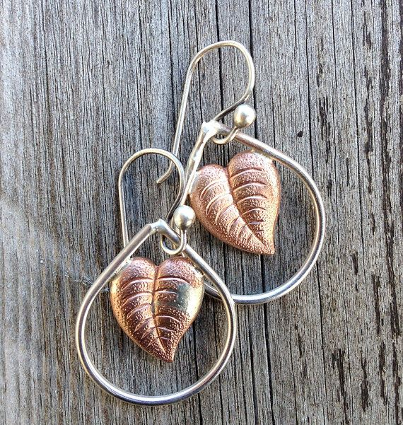 copper leafs ... earrings with vintage copper leaf on by MONOtekst