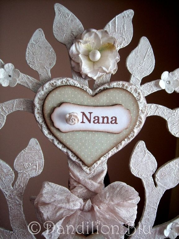 Custom made to order ~ Family trees created using pretty scrapbook papers, vintage lace, crystals, mulberry paper flowers and vintage seam binding. Price £34.99.