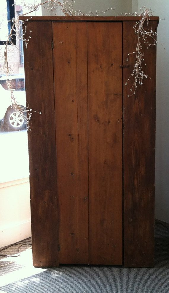 Primitive Antique Americana Farmhouse Hutch Armoire