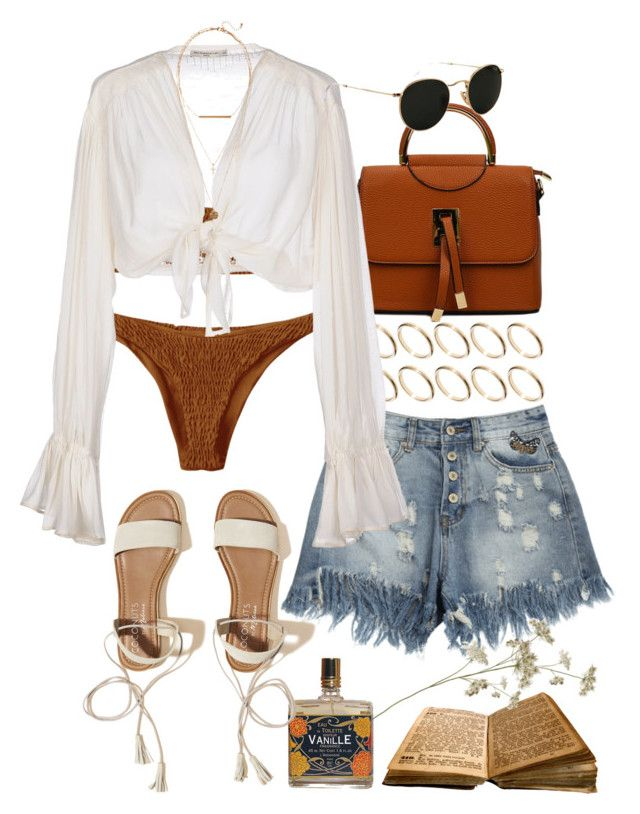 """""""Beach Day (Zaful 17)"""" by nikka-phillips ❤ liked on Polyvore featuring ASOS, Mes Demoiselles..., Hollister Co., Ray-Ban and H&M"""