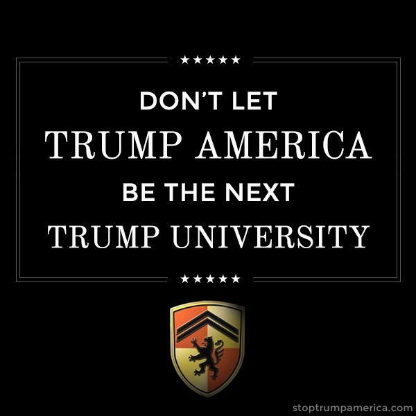 "Pinner: Don't let TRUMP AMERICA be the next TRUMP UNIVERSITY Trump University: Yes, It Was a Massive Scam - National Review How Bad Are the Charges Against Trump University? Really bad. - Fortune What Trump said under oath about the Trump University fraud claims — just weeks ago - The Washington Post Donald Trump Admits in Deposition That He Never Vetted His ""Hand-Picked"" Instructors - Gawker"