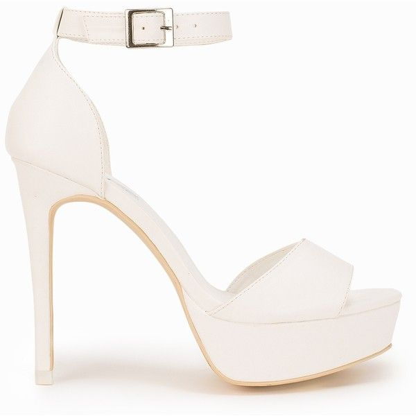 Nly Shoes Stiletto Platform Sandal found on Polyvore featuring shoes, sandals, heels, footwear, party shoes, white, womens-fashion, faux leather sandals, platform sandals and white sandals