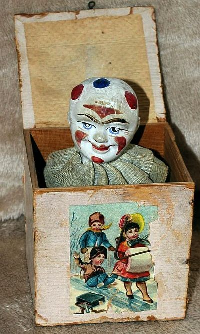 Antique Clown Litho Jack in the Box - Early 1900's