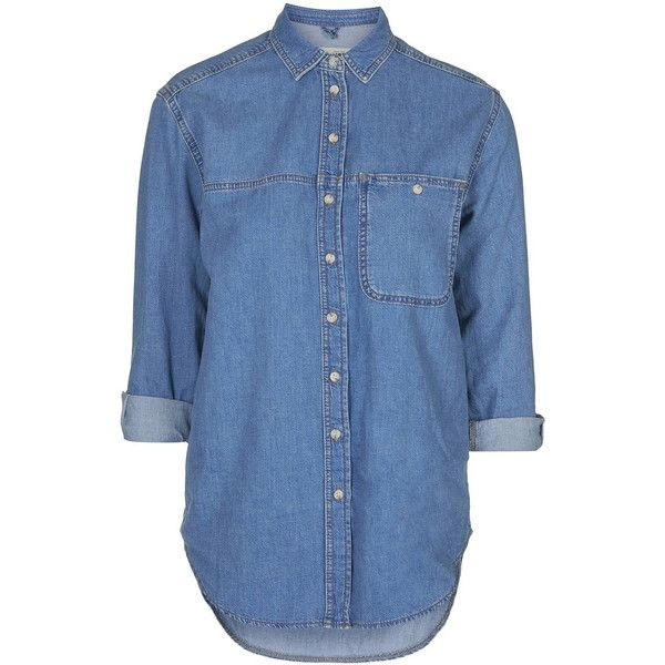 TopShop Petite Oversize Denim Shirt ($49) ❤ liked on Polyvore featuring tops, shirts, mid stone, bleached denim shirt, oversized shirt, bleach shirt, topshop and petite shirts
