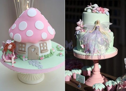 flower fairy cakes by Katie's Cupcakes left and via Sweet Tables by Chelle right