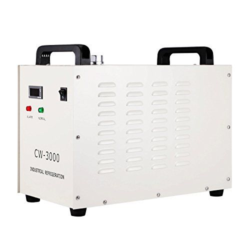 Forkwin Water Chiller 9L Water Chiller Industrial 10L/min Water Chiller Cooler 50W/℃Water Cooling Chiller for 60/80W CO2 Glass Laser Tube  Maximum flow:10L/min;Maximum pumping lift:10M;Tank capacity: 9L  Working frequency:50/60Hz;Voltage: AC 1P 220V;Heat dissipation:50W/℃  The water chiller has the functions of water alarm and ultra-high temperature alarm,and it can save energy ,it has long working life and it's easy to operate  Professional forced air-cooled radiator,high heat dissipa...