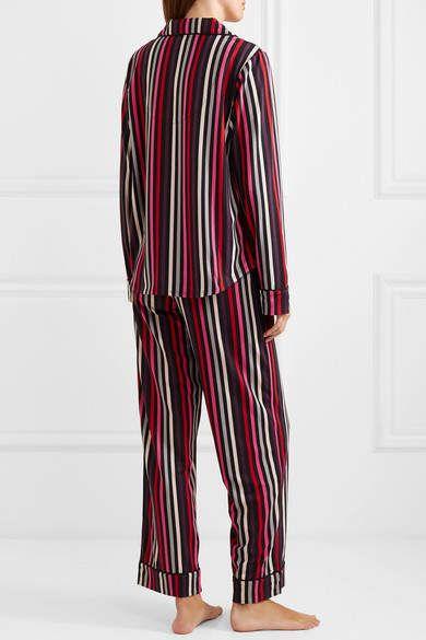87b0924855 DKNY City Striped Stretch-jersey Pajama Set - Black #Striped#Stretch ...