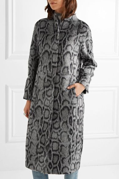 Gray and midnight-blue faux fur Concealed snap fastenings through front 41% acrylic, 21% polyester, 18% viscose, 16% wool, 4% polyamide; lining: 96% polyester, 4% spandex Dry clean Imported