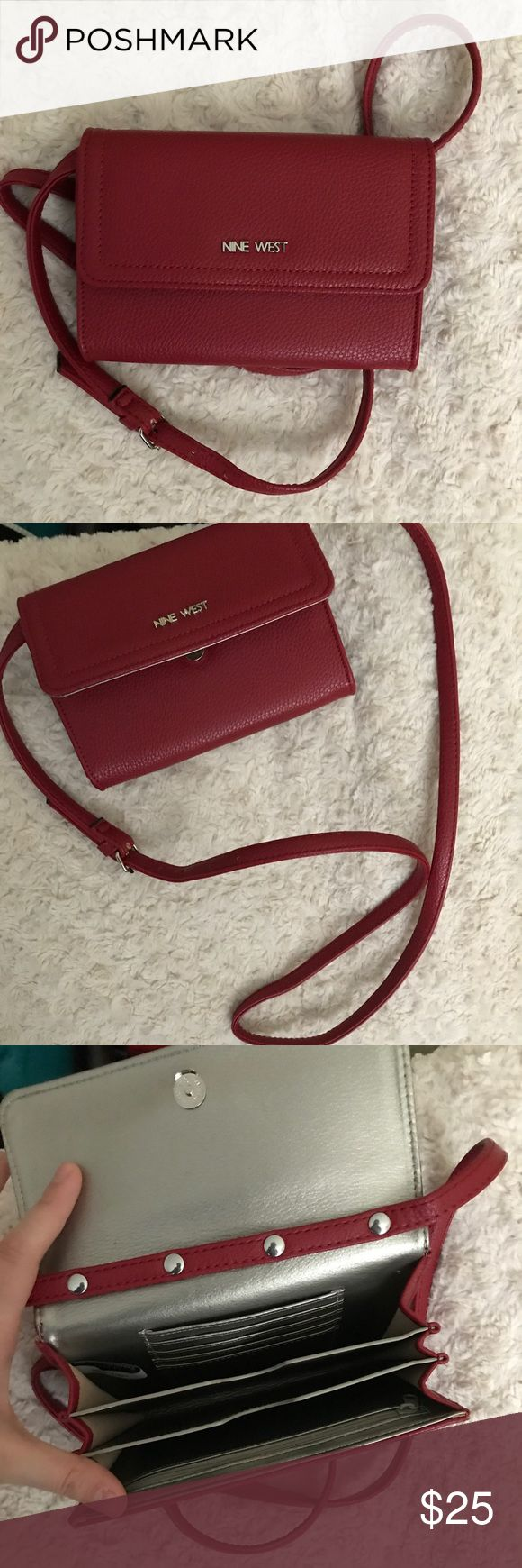 NINE WEST CROSS BODY SATCHEL WITH ADJUSTABLE STRAP This Nine West cross body satchel in Apple red is GREAT for when you only need to carry a few items! Fits an iPhone 7- would fit an iPhone 7+- can also fit a change purse/small wallet, and beauty items! Beautiful red leather!! Nine West Bags Satchels
