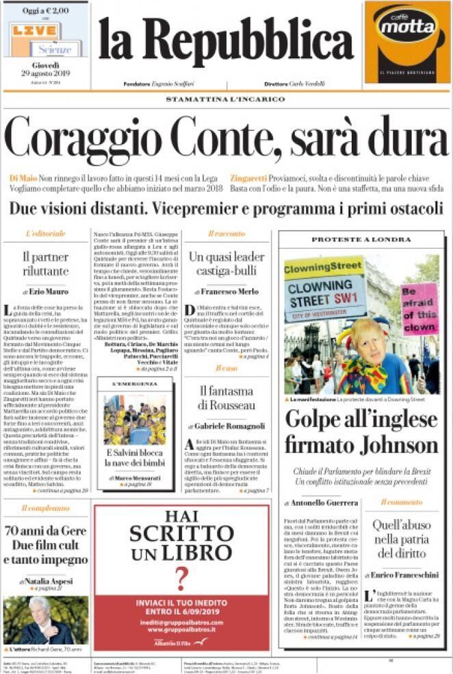 Prima Pagina La Repubblica Giornalone Repubblica Copertina Sfida