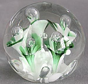 Vintage Glass Paperweights   Vintage Art Glass Paperweight with Green Flowers (General) at ...