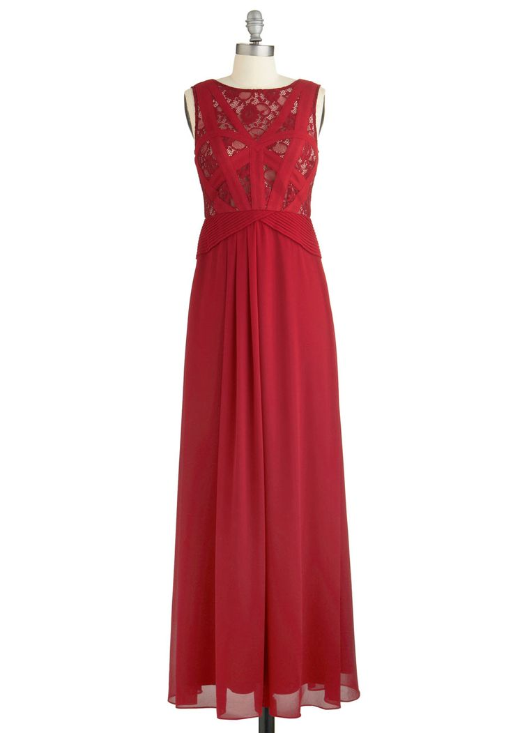 Raspberry Radiance Dress. Youll look sweet and feel refreshed in the gossamer-light layers of this sweeping gown. #red #prom #wedding #bridesmaid #modcloth