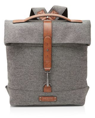 TED BAKER Germyn Canvas Roll Down Rucksack. #tedbaker #bags #canvas #lining #polyester #shoulder bags #hand bags #wool #cotton #