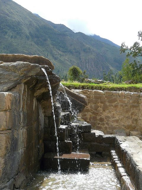 """Inca fountains at Ollantaytambo, near Cusco, Pero. Repinned by Elizabeth VanBuskirk, author of """"Beyond the Stones of Machu Picchu,"""" short stories that reveal incidents of life, conflict, belief systems, respect for nature in Inca villages today."""