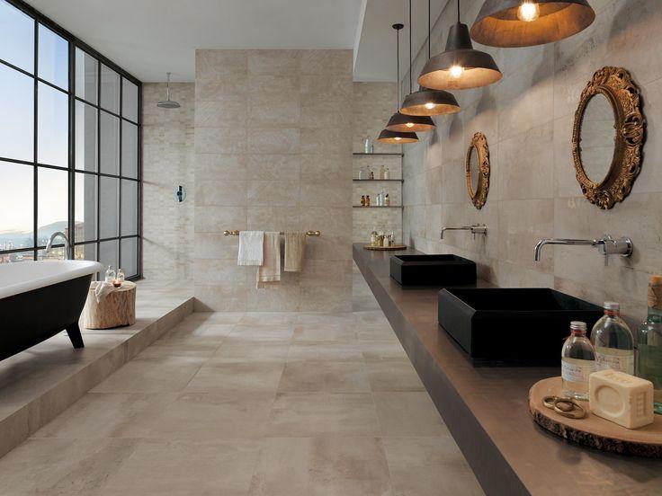 Carrelage aspect ciment Petitot de Novoceram pour votre salle de bain #verriere #baignoire #beige #ecru http://www.novoceram.fr/produit/petitot