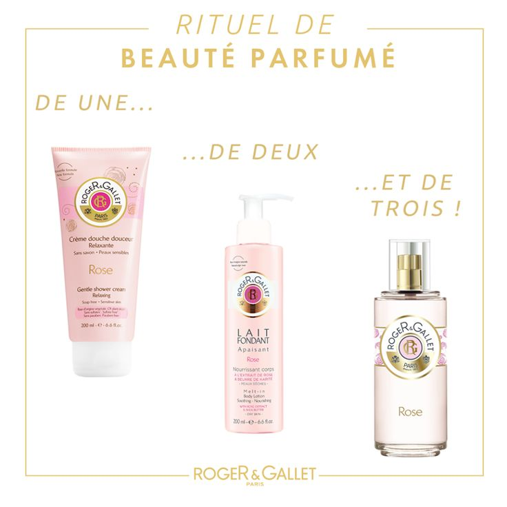 Roger & Gallet Rose shower gel, body lotion and perfume