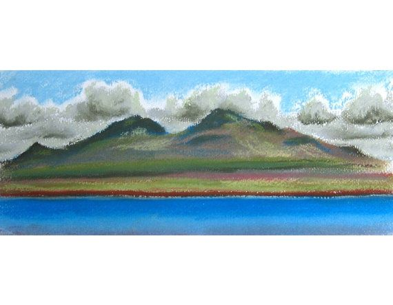 Irishman's Point original pastel landscape drawing mountains Isle of Skye Scotland on Etsy, £75.00