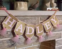 Custom Girl's Name Banner, Embossed Pink and Gold Banner with Tulle, Girl's Birthday Banner, Baby Shower Banner, Birthday Decoration