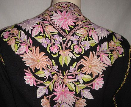 KASHMIR- Kashida embroidery; crewel stitch technique on wool