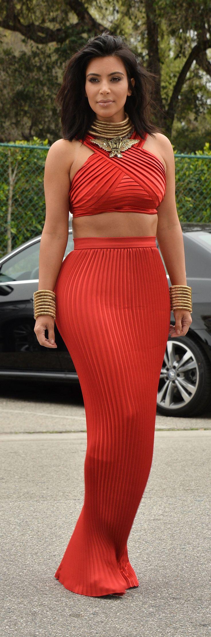 Kim Kardashian wearing a Balmain ensemble at the pre-Grammy brunch.