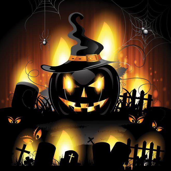 Vector spooky pumpkin wearing witch hat set in graveyard glowing background spider around the pumpkin Halloween wallpaper design illustratio...