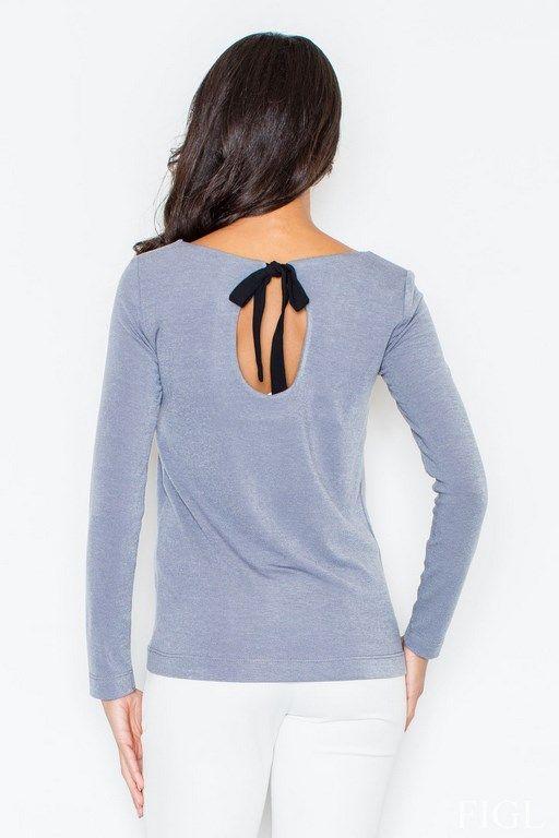 Szary sweterek damski z dekoltem na plecach