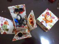 Cantinho da Patt: caixa de costura feita com cx de leite