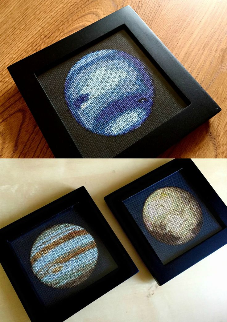Photographer Navid Baraty was looking for a new side project and decided to pickup up cross stitching. His current goal is to make the entire solar system with thread and he's already finished Jupiter, Neptune, and Pluto (!), each of which requires anywhere from 20 to 35 different colors. If
