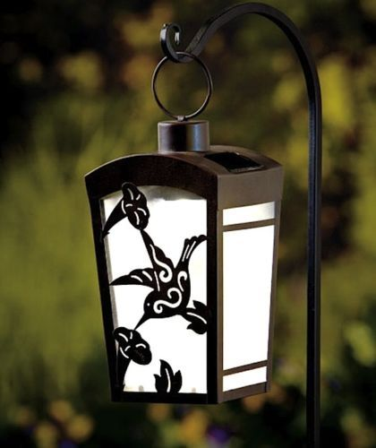 Solar Lighted Hanging Hummingbird Lantern Deck Porch Patio