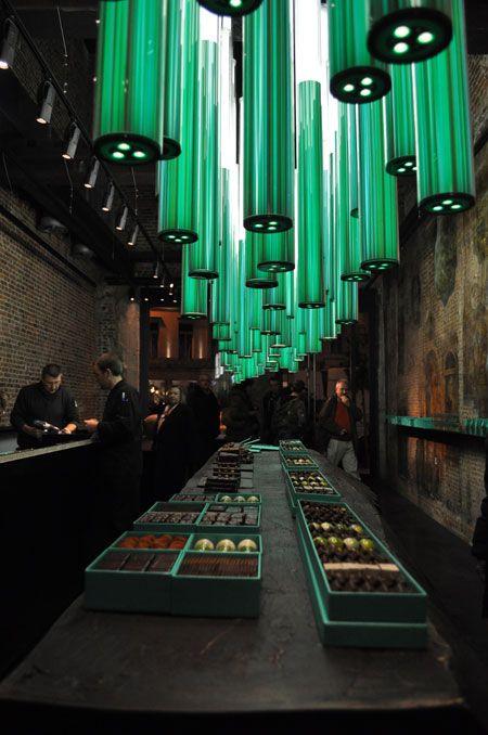 Light design for Boutique Patrick Roger chocolatier, Gilbert Moity. Bruxelles.