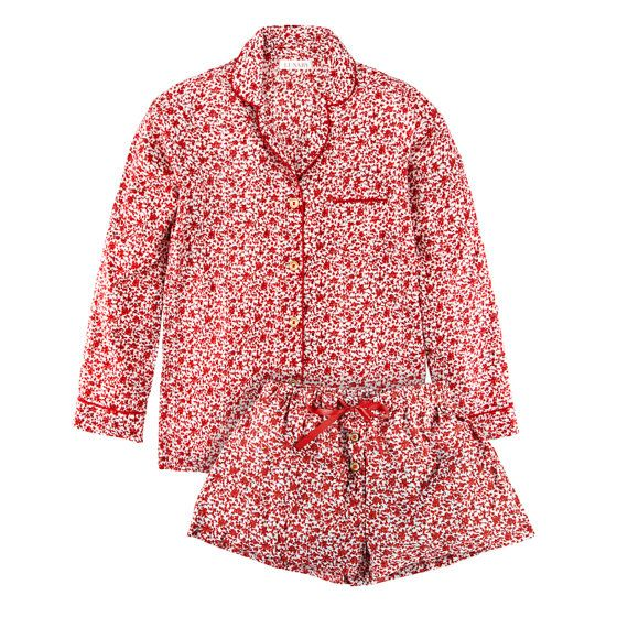 Cotton pyjamas in red and white Shelly Red from by LunabyShop