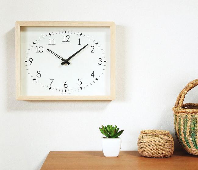 La Luz(ラ・ルース)シャンパーニュクロック NT/BR(掛け時計/置時計/壁掛け/木製/ナチュラル/ギフト/引越祝い/長方形/シンプル/見やすい/メープル/ウォールナット)
