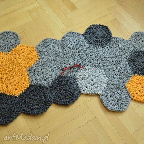 petelkowo żółto-szara mozaika, chodnik, dywan, dziergany, bawełniany dom