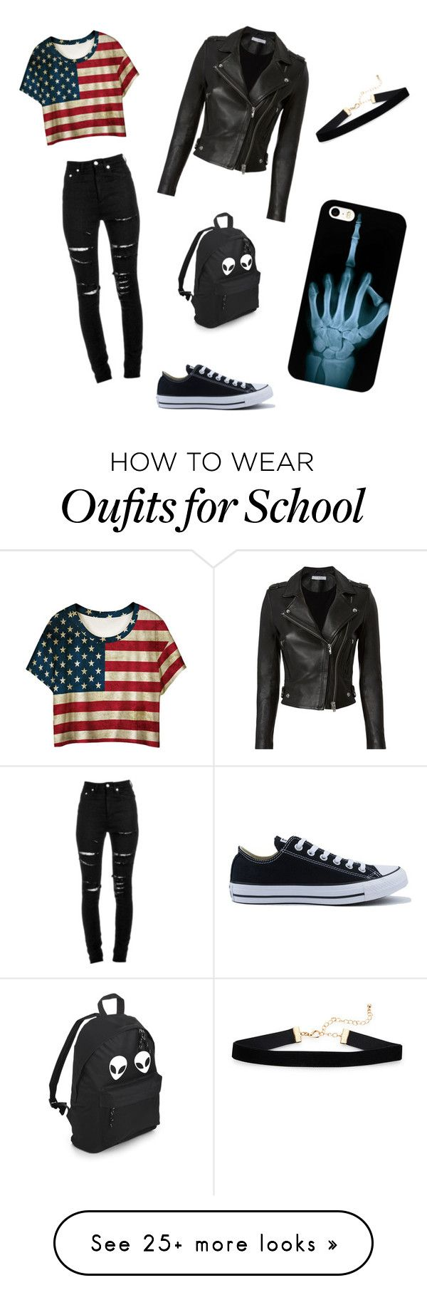 """'Black'"" by adrianadragan on Polyvore featuring Yves Saint Laurent, WithChic, IRO and Converse"