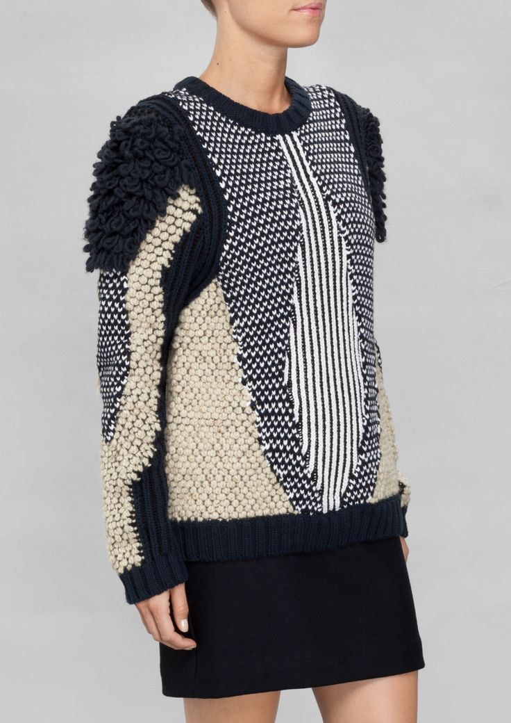 Panelled sweater with mixed textures, contemporary knitwear design // & Other Stories