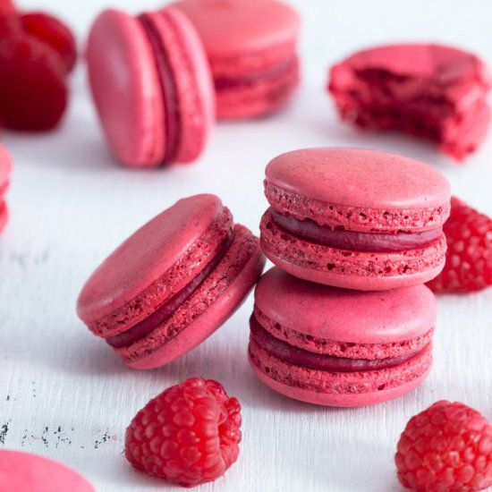 Raspberry macarons made with white chocolate and raspberry filling